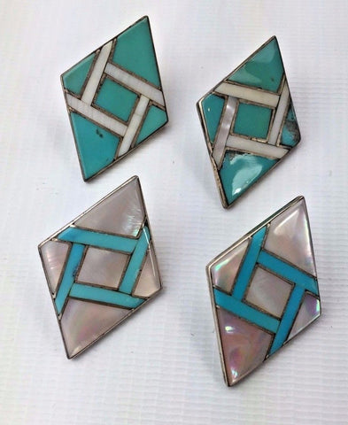 Sterling Silver Turquoise Mother of Pearl Earring Set - Native American 2 Sets