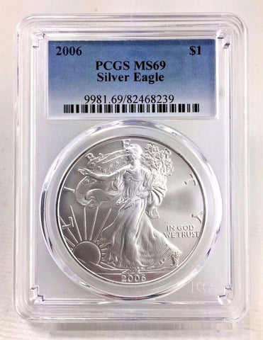 2006 ASE $1 PCGS MS69 American Silver Eagle Certified Near Perfect Bullion ASE$1