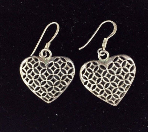 Sterling Silver Earrings - Heart Design with Scroll Accents - .925     A8aGC