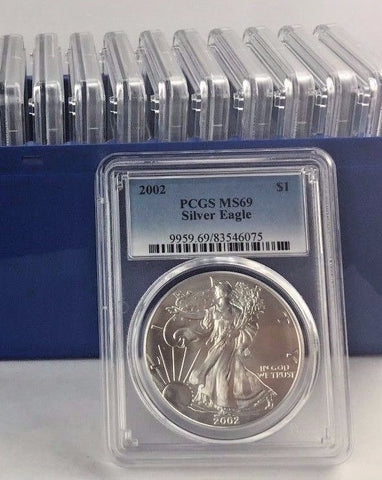 2002 1 oz Silver American Eagle MS-69 PCGS - FULL PCGS BOX OF 20 COINS all MS69
