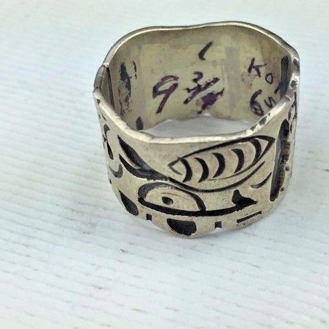 Sterling Silver Ring - SIZE 12 - Native American / Indian Totem Type Design  8g