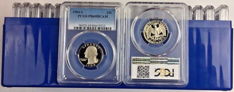 LOT OF 20 - All certified  1984-S 25C  (Proof) Washington Quarter PCGS PR69DCAM