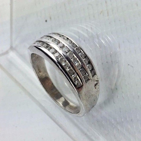 Sterling Silver & Diamond Ring - .25 cttw Diamonds - Size 8 - 3 Channel Setting