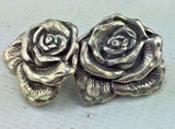 Sterling Silver Earrings - Handmade Rose Style Earring Set n12gac