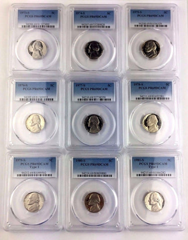 1973 - 1981 T1 5C JEFFERSON NICKEL DATE RUN - PCGS PR69DCAM - NINE (9) COIN SET