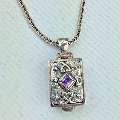 "Sterling Silver Necklace with Pendant Locket Pendant with Amethyst 16"" Chain 8g"