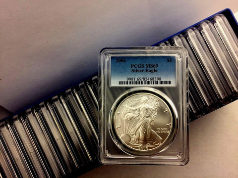 2006 1 oz Silver American Eagle MS-69 PCGS - FULL PCGS BOX OF 20 MS69 COINS