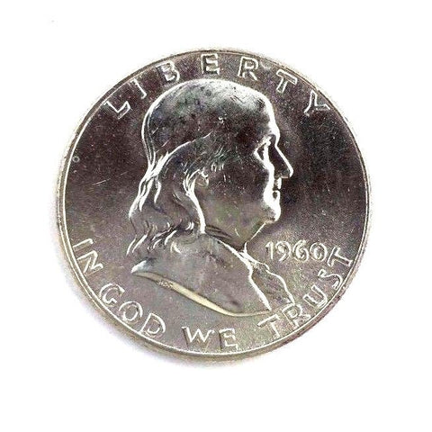 1960 50C Franklin Silver Half Dollar Brilliant Uncirculated BU - White UNC+ Coin