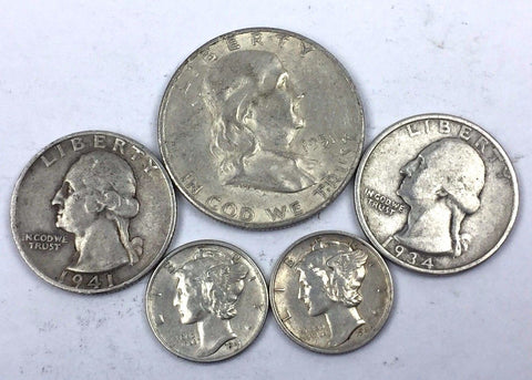FIVE (5) COIN SET United States Silver 90% Lot - Mercury Franklin Washington JD