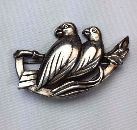 Sterling Silver Pin - Two Parrots on Tree - Nice Detail - 53.5 Grams Weight