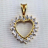 Sterling Silver - Gold Gilted - Heart Pendant - Round Glass Accent Stones