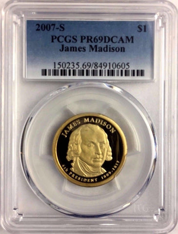2007-S $1 James Madison Proof Presidential Dollar PCGS PR69DCAM 2+ = Free Ship *