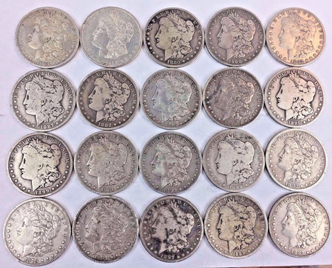 $1 Morgan Silver Dollar - ROLL of 20 COINS - All coins date Pre-1905 727-7UNZ