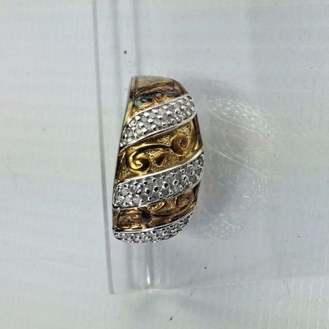 Sterling Silver & Diamond Ring - .25 cttw Diamonds Size 7 - Gold Gilted Cocktail