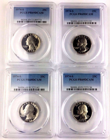 LOT OF FOUR (4) -  1974-S 25C (Proof) Washington Quarter PCGS PR69DCAM