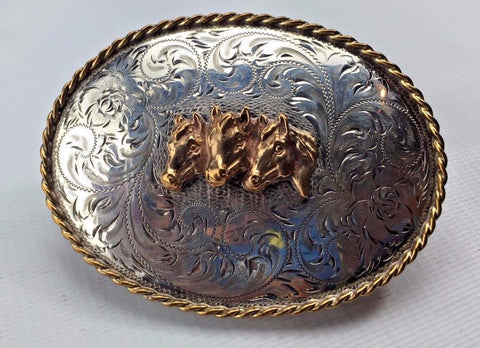 Sterling Silver Belt Buckle - Large w/ 3 Foals - Gilted & Marked - Diablo Mfg co