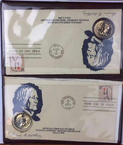 1979 SBA$1 Susan B Anthony Dollar 2 COIN SET First Day of Issue Coin & Stamp Set