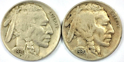 1930 P & S 5c Buffalo Nickel Two (2) Coin Set - Sharp Remaining Detail 1128-129z