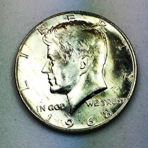 1968 D 50c UNC Kennedy Silver Half Dollar Denver Mint BU Coin Uncirculated 1/2 $