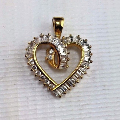 Sterling Silver - Gold Gilted - Heart Pendant - High Quality Design  - Jewelry