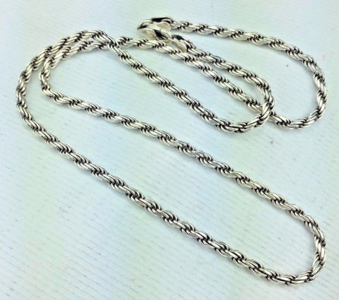 "Sterling Silver Necklace Rope Chain Style .925 Silver 18"" Long Lobster Clasp 13g"