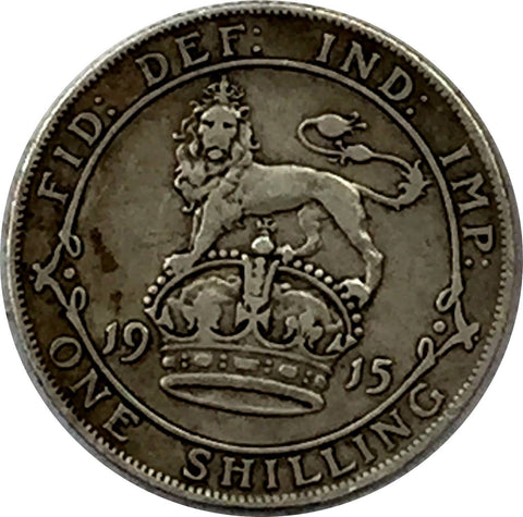 Great Britain Silver Shilling - 1915 - Choice Very Fine Condition JD