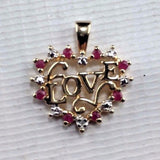 "Gold Gilted Sterling Silver Heart Pendant - "" Love "" - Ruby and White Stones"