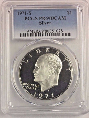 1971-S $1 Silver DC (Proof) Ike Dollar PCGS PR69DCAM Buy 2+ GET FREE SHIPPING *