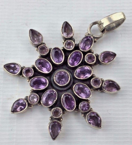 Sterling Silver and Amethyst Pendant - Star Design - Oval Round & Teardrop Cuts