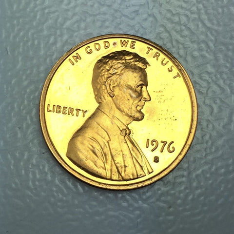 1976 S 1c Proof Lincoln Memorial Cent - San Francisco Bicentennial Strike Coin