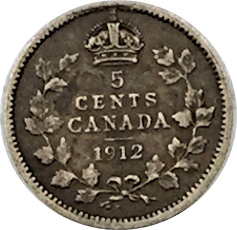 1912 5C Canada Silver 5 Cents - Old King George V - F+ VF Condition