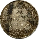 1918 50C Canada 50 Cents Silver Coin - Strong Fine Condition - Toned