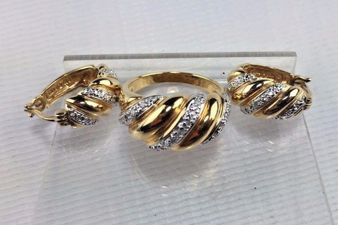 Sterling Silver & Diamond Gold Gilted Earring and Ring Set - .15 cttw - Spiral D