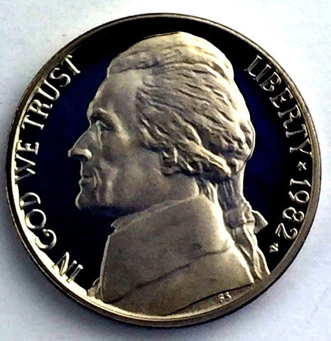 1982-S 5c Proof Jefferson Nickel - Monticello Yearly Presentation Strike Coin