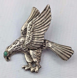 Sterling Silver Eagle Pin with Turquoise Eye - Made in Mexico - Handmade