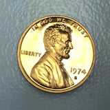 1974 S 1c Proof Lincoln Memorial Cent - San Francisco Presentation Strike Coin