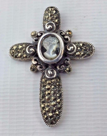 Sterling Silver Cross Pendant with Center Cameo - Marcasite accent stones