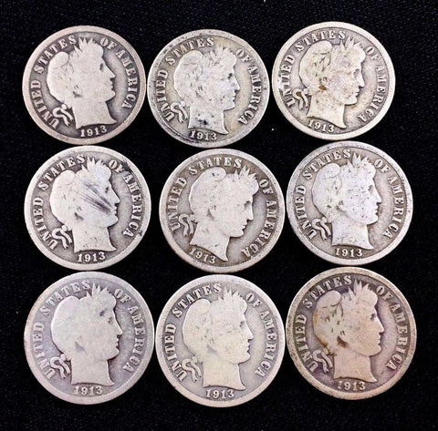 90% Silver BARBER DIMES 10c Lot of 9 Coins Collectible United States Coins 1913