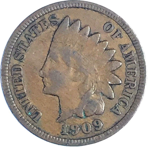 1909 1C Indian Head Cent - Sharp Original Coin - VF Very Fine 123-434U