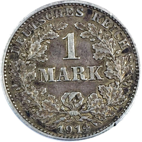 Germany, Empire One (1) Mark, 1914 (GG) Silver Coin (XF) Extra Fine 825-9JD