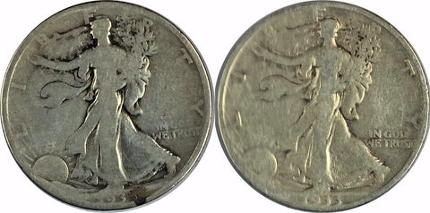 1933-S 50C Walking Liberty Half Dollar (LOT OF TWO (2) COINS)  730-1DZ