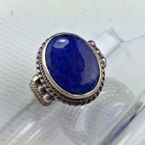 Sterling Silver Ring - SIZE 7 - Lapis Lazuli Vintage .925 Jewelry  7g
