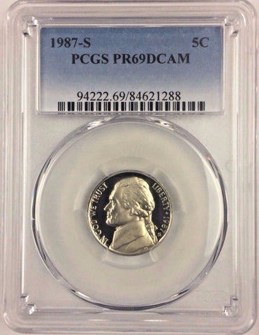 1987-S 5C Proof Jefferson Nickel - PCGS PR69DCAM