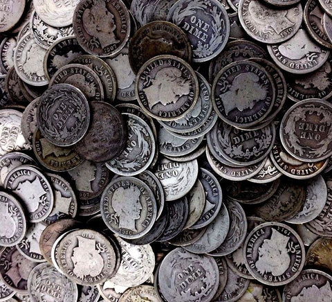 $1 Face 90% Silver Coins - Barber Dimes Only - Fresh Bulk Collection Lot JD18AO