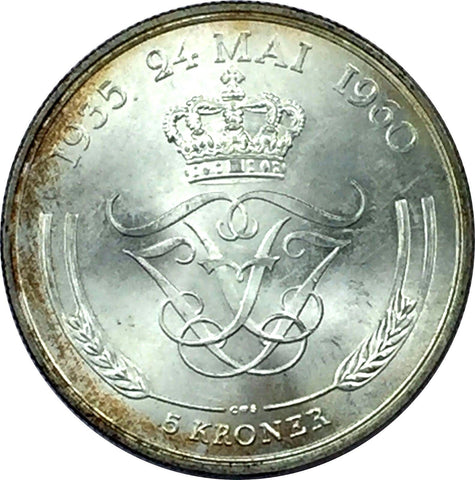1960 CS Denmark Silver 5 Kroner Collectible Coin - Brilliant Uncirculated BU