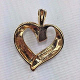 "Sterling Silver - Gold Gilted - Heart Pendant - w/ Diamond - 1 3/8w x 1 1/4""t"