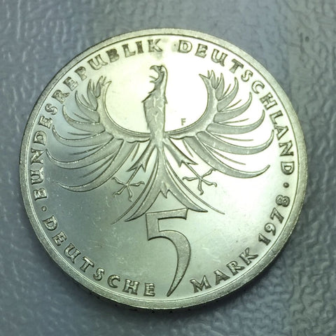 1978 F German Silver 5 Mark Balthazar Neumann Commemorative Coin #11,275