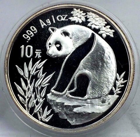 1993 10 Yuan Chinese Silver Panda 1 oz - In Plastic Capsule - Large Date Frosted