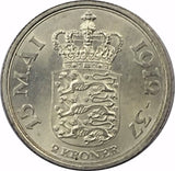 1937 NJS Denmark Silver 2 Kroner Collectible Coin - Brilliant Uncirculated BU+