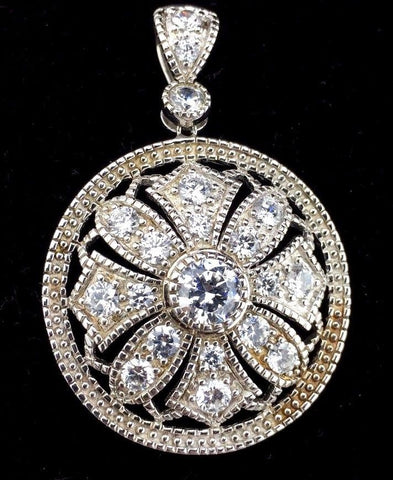 Sterling Silver Pendant - Round Design w/ Cubic Zirconia  CZ - Very Nice A9PC
